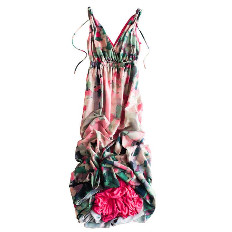 Sexy V-ausschnitt Sommer Chiffon Kleid Frauen Kleidung 2020 Koreanische Vintage Floral Strand Party frauen Kleider Damen Maxi Vestido