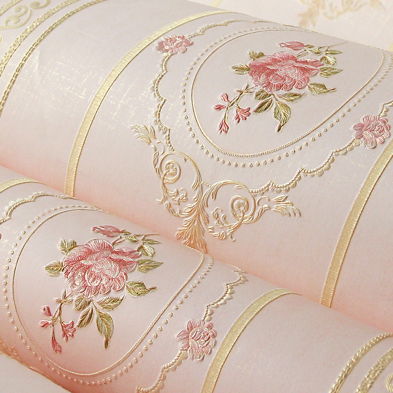 Pastoral Style Bedroom Living Room Wall 3D Decoration Main Material Romantic Pink Warm Nonwoven Fabric Fine Embossing Wallpaper