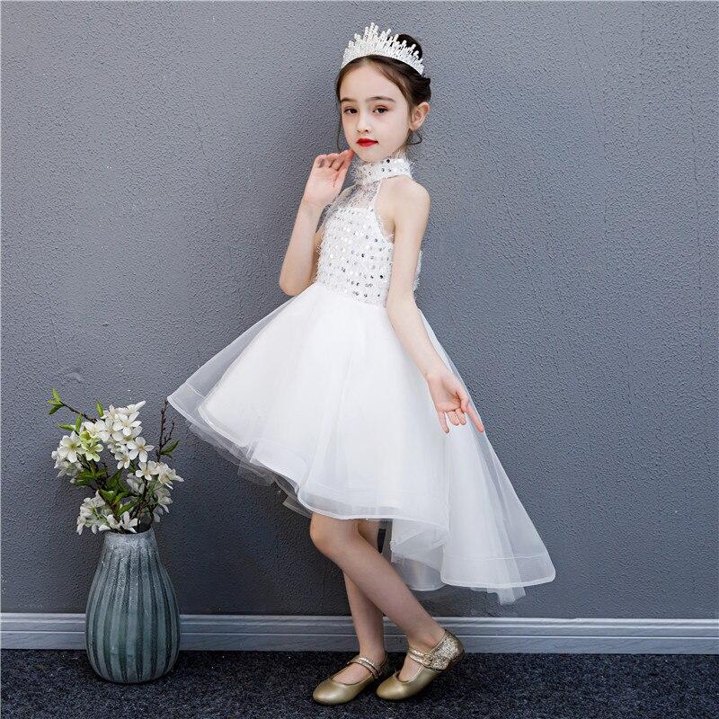 Little Girl Princess Dress Formal Dress Western Style Children Birthday Flower Boys/Flower Girls Catwalks Host Costume White Tra