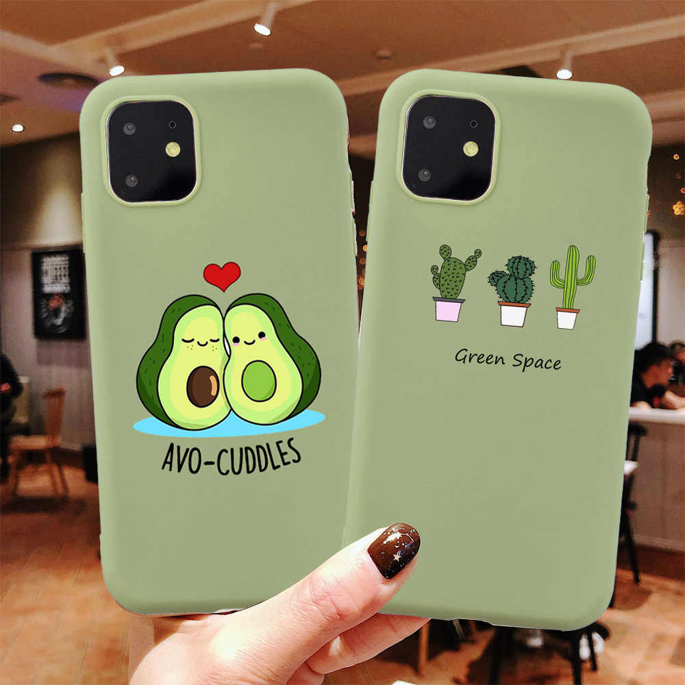 Funny Cartoon Avocado Phone Case For iPhone 6 6S 7 8 Plus TPU Silicone Back Cover for iPhone 11 Pro X XR XS Max Soft Cases Coque
