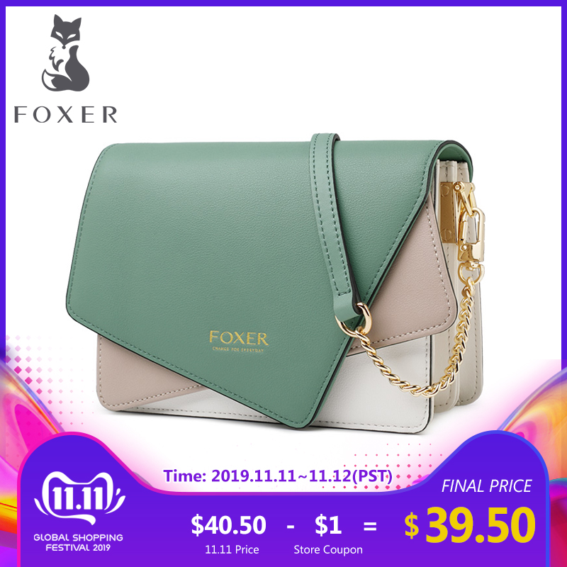 FOXER Panelled Shoulder Bag Women Luxury Split Leather Cross-body Bags Stylish High Quality Messenger Bag Purse For Lady 954039F