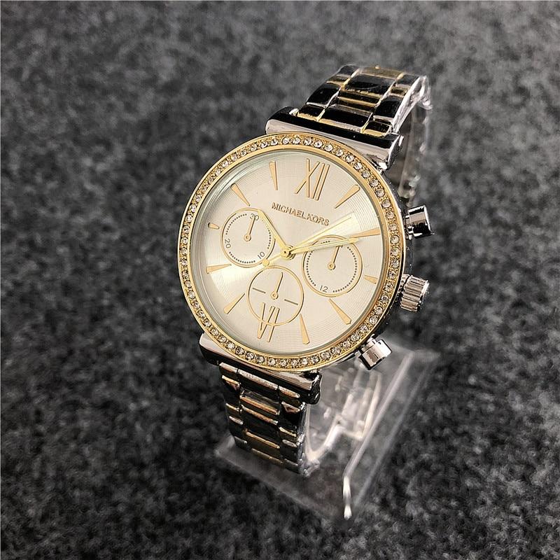 Michael Korsing Quartz Wrist Dress Women Watches Silver Bracelet Ladies Watch Stainless Steel Clock Casual Waterproof Watch