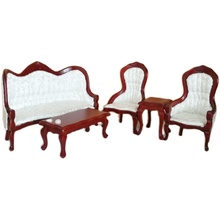 1:12 dollhouse living room furniture set wooden sofa , chair tea table new style 5pcs/sets