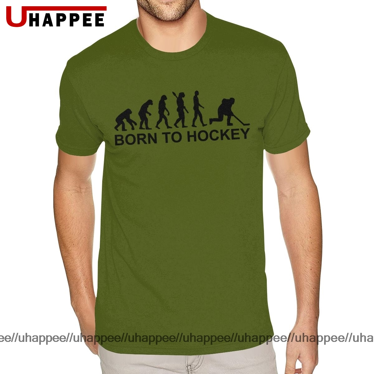 Cheap Graphic Born To Hockey Evolution Tee Shirts Men's Custom Print Short Sleeved Soft Cotton O Neck Tees Shirts