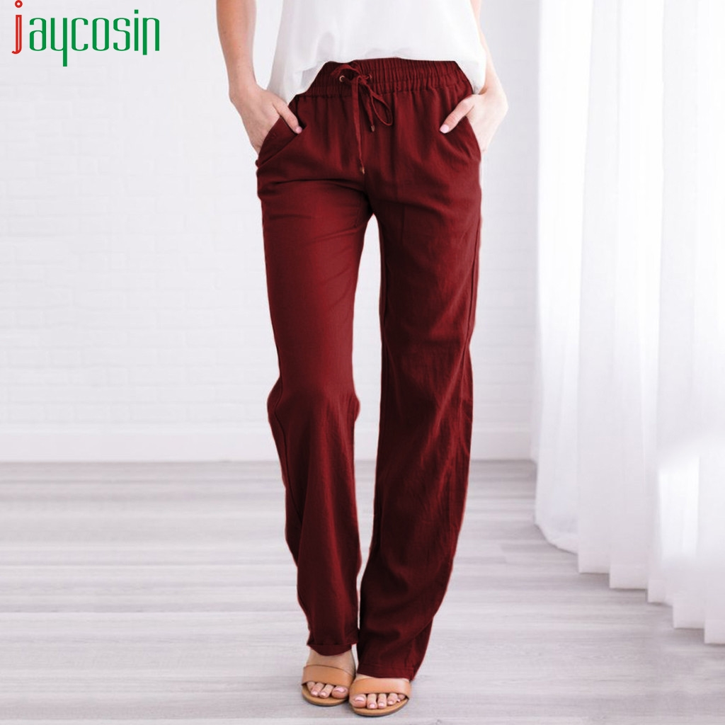 Women Trousers Loose Casual Straight Sports Solid Color High Waist Elastic Band Plus Size Pants Ladies Pocket Running Trousers