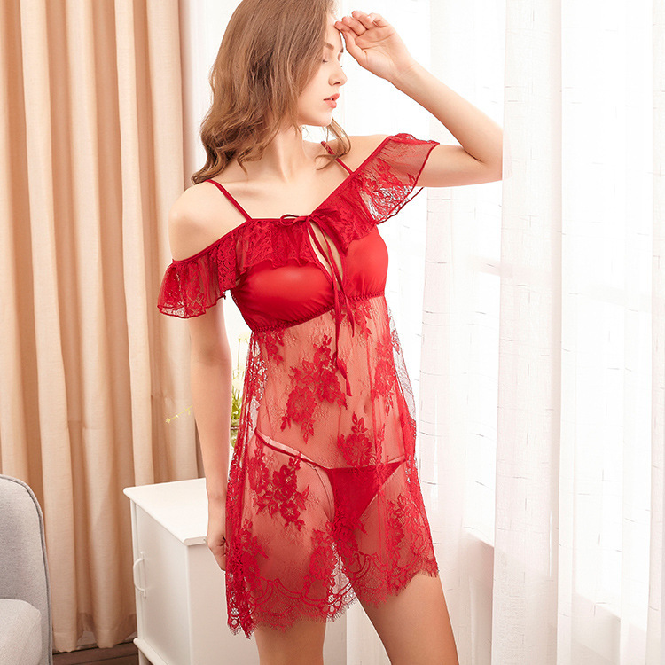Lisacmvpnel Net Yarn Women Nightdress T Pants Lace Hollow Sexy Women Nightgown