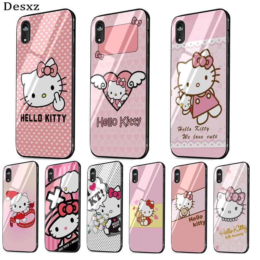 Mobile Phone Glass Case For iPhone 5 5s SE 6 6s 7 8 Plus XR X XS Max for iphone 11 11pro 11 pro max CoverLovely Hello Kitty