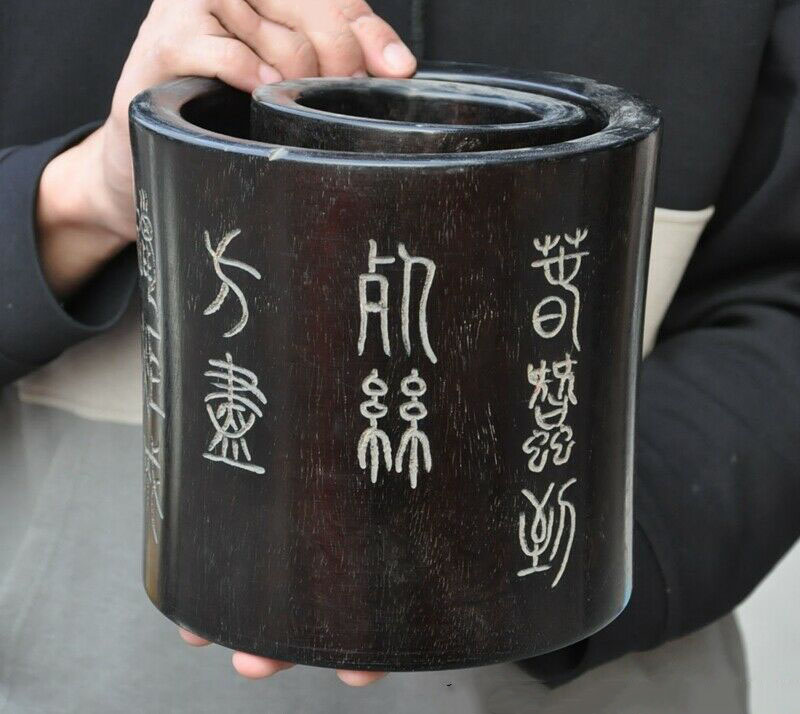 wedding decoration Old China Rosewood Wood Dynasty Palace Ancient calligraphy Ghost Eyes Brush Pot|Statues & Sculptures| |  - title=