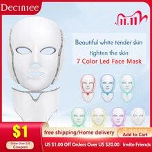 7 Color Led Facial Light Face Mask With Neck Skin Rejuvenation Tighten Acne Anti Wrinkle Beauty Treatment Korean Photon Spa Home