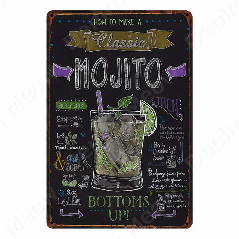 Tiki Thanh Mở Mùa Hè Bia Retro Kim Loại Tín Hiệu Mojito Martini Cuba Libre Cocktail Mảng Bám Quán Rượu Thanh Nghệ Thuật Dán Tường trang Trí N082