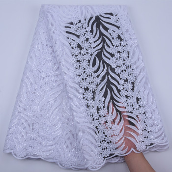African Lace Fabric High Quality French Tulle Lace Fabric White Nigerian Laces Embroidery Sequins Lace Fabric For Wedding Y1763