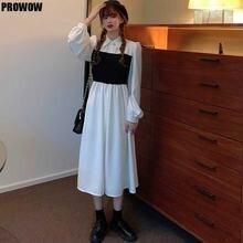 Корейские женские платья с имитацией двух частей элегантное