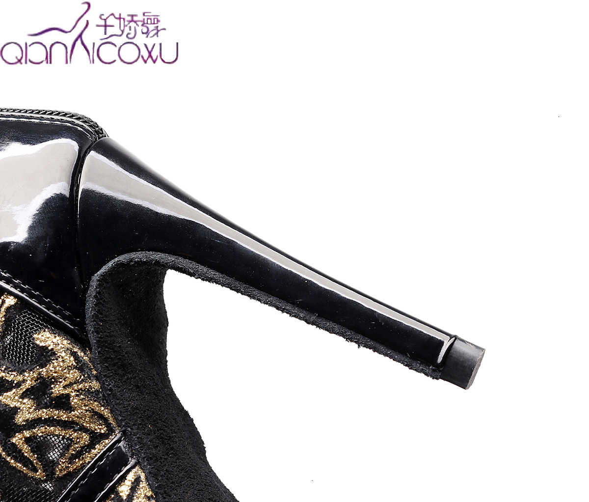 2020 kuponları sıcak satış Salsa caz balo salonu Latin dans ayakkabıları dans kadın kentsel topuklu örgü 1023 Glitter siyah çizmeler