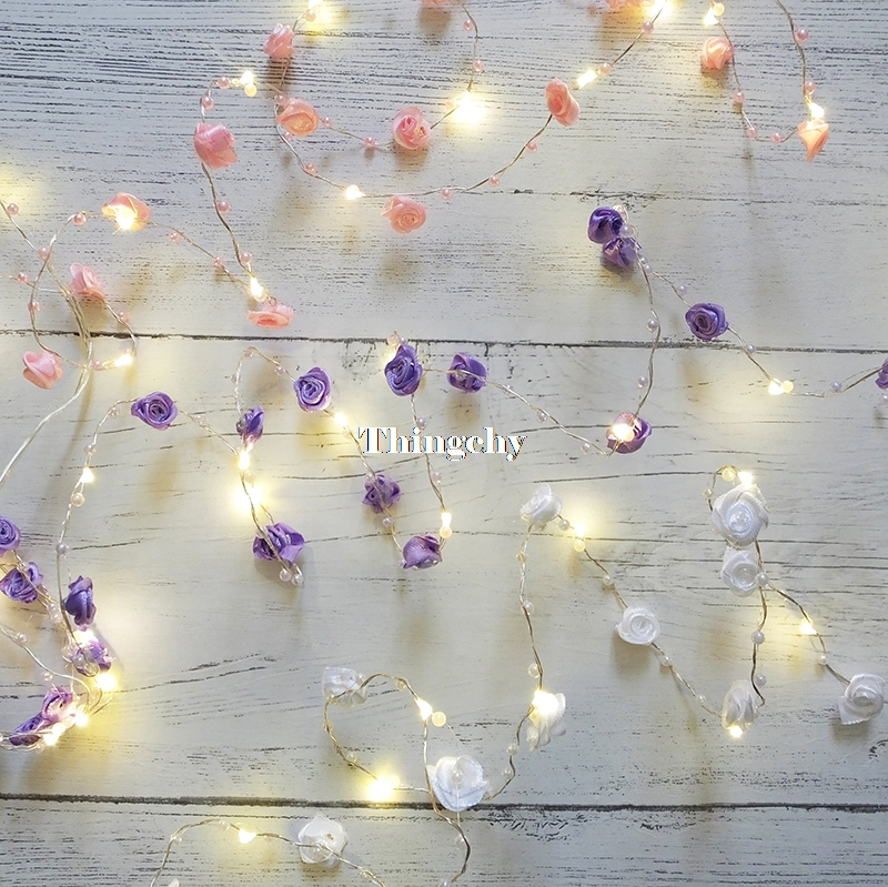 Rose Pearl LED Copper Wire String Lights Pearlized Battery/USB Fairy Lights For Wedding Home Party Christmas Decorations