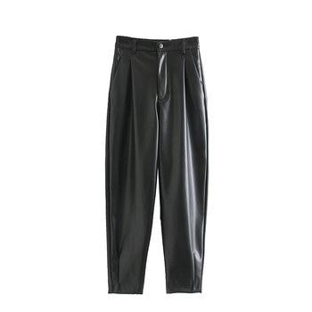 2020 New Fashion Autumn Winter Women High Waist Black Faux Leather Pants Lady PU Loose Pencil Trousers Elegant Pocket Streetwear 3