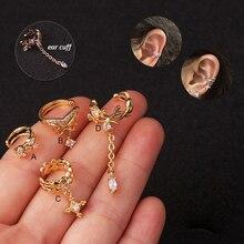 1Pc Cz Long CZ Pendant Ear Cuff No Piercing Conch C