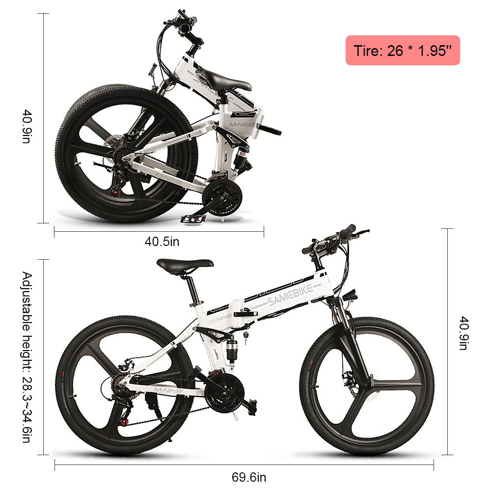 26 Inch Folding Electric Bike Power Assist Electric Bicycle E-Bike Conjoined Rim Scooter 48V 350W Motor