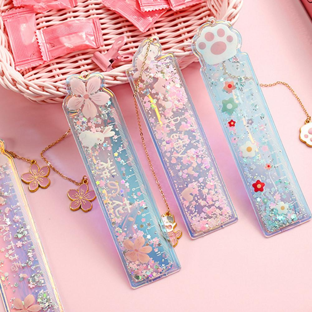 1 Pcs/lot Oil Flow Sand Bookmark Rulers Cute Laser Girl Drawing Template Lace Sewing Ruler Students Stationery Office School