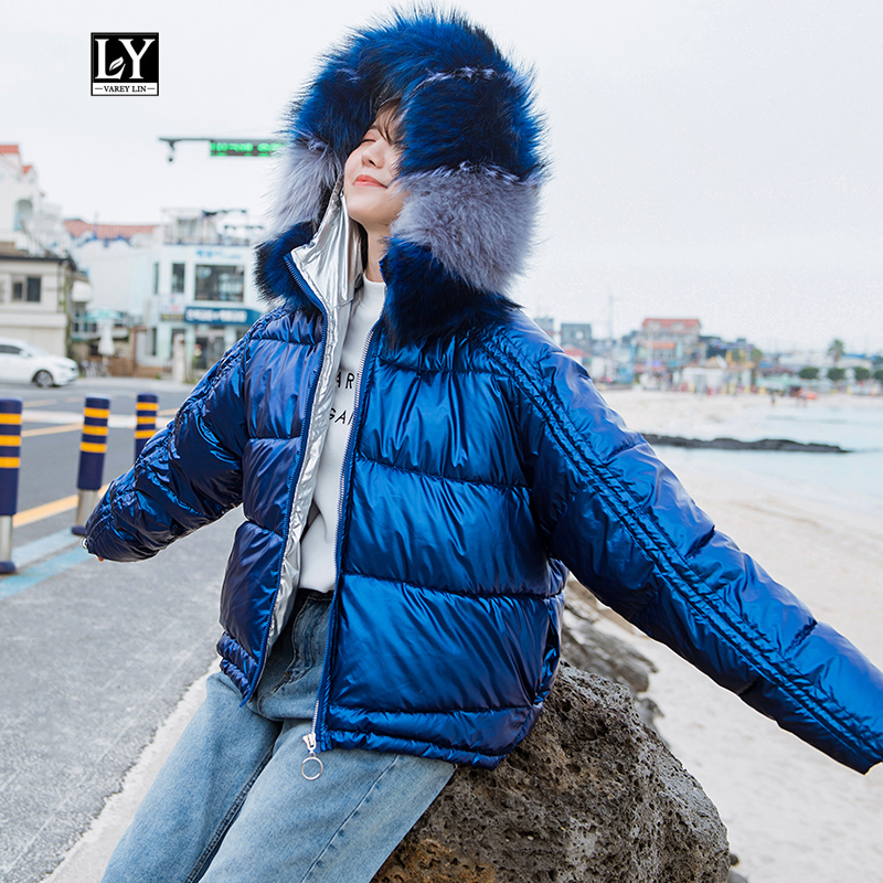 Ly Varey Lin Winter Glossy Parka Women Big Faux Fur Hooded Short Cotton Jacket Warm Thick Loose Gold Silver Bright Side Outwear
