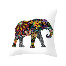 Lychee DIY Elephant Series Pillow Cases Colorful Polyester Peachskin 45x45cm For Bedroom Home Office