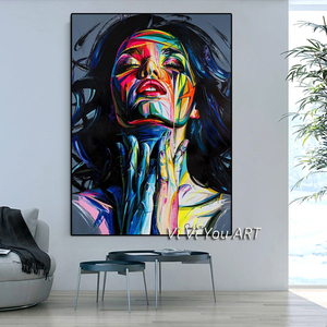 Figure Art Sexy Woman Oil Painting on Canvas Cuadros Posters 100% Hand Painted Canvas Paintings Wall Art Picture for Living Room(China)