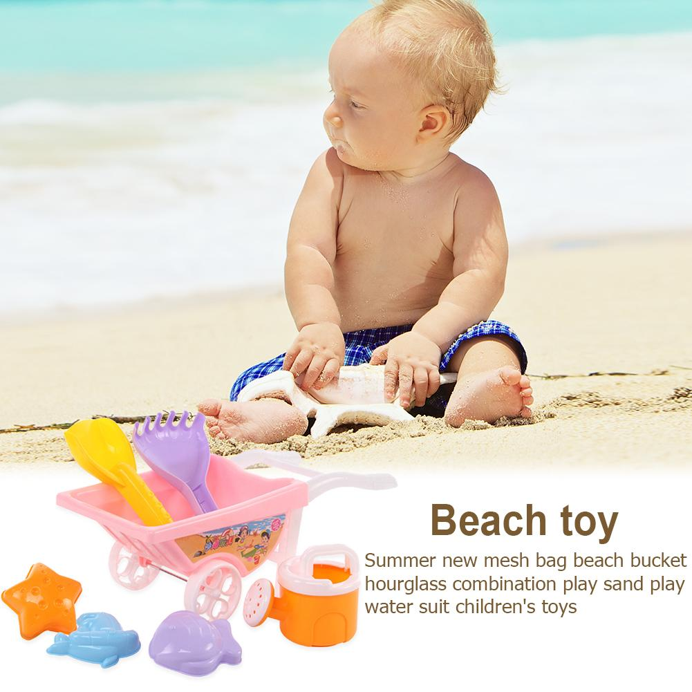 7pcs Beach Sand Toy Trolley With Net Bag Toys For Children Summer Beach Play Sand Water Game Tools Early Education Toys Gifts