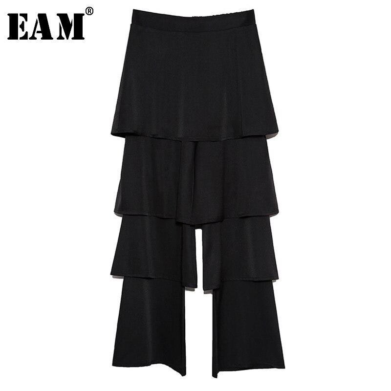 [EAM] 2019 New Autumn Winter High Elastic Waist Black Striped Printed Loose Big Size Harem Pants Women Trousers Fashion JL614