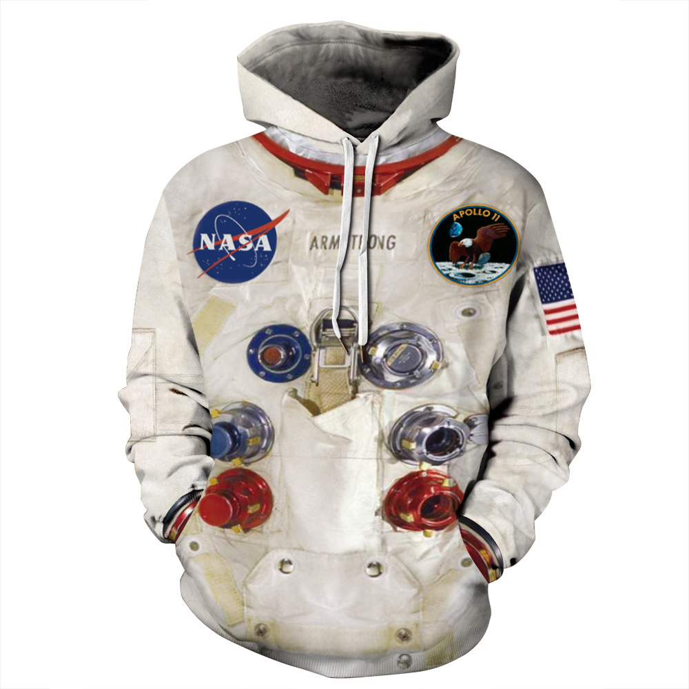 QNPQYX Women Man Winter streetwear Hoodies Tops 3D Astronaut Space Suit Pullover Sweatshirt Terror Pocket Outwear Warm hoodies