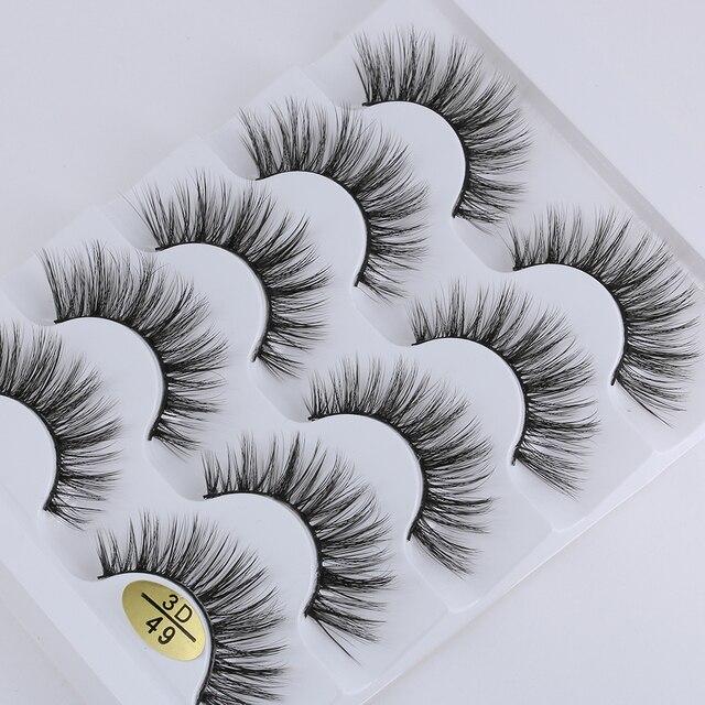 5 Pairs 3D Faux Mink Hair False Eyelashes Wispies Fluffies Drama Eyelashes Natural Long Soft Handmade Cruelty-free Black Lashes 4