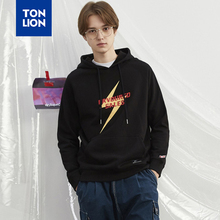 TONLION Black Mens Pullover Hooded with Pockets Lightning Print Decoration Men's Sweatshirts Long Sleeve Tops Spring