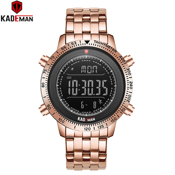 K849 Luxury Mens Watches Original Sport Digital 3ATM Full Steel Fashion Business Wristwatch TOP Brand KADEMAN Relogio Masculino