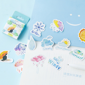 46pcs A Man's Fine Weather Stickers Set 44mm Mini Sunny Snow Rainy Cloudy Rainbow Sticker Decoration Gift Seal notebook DIY F418 image