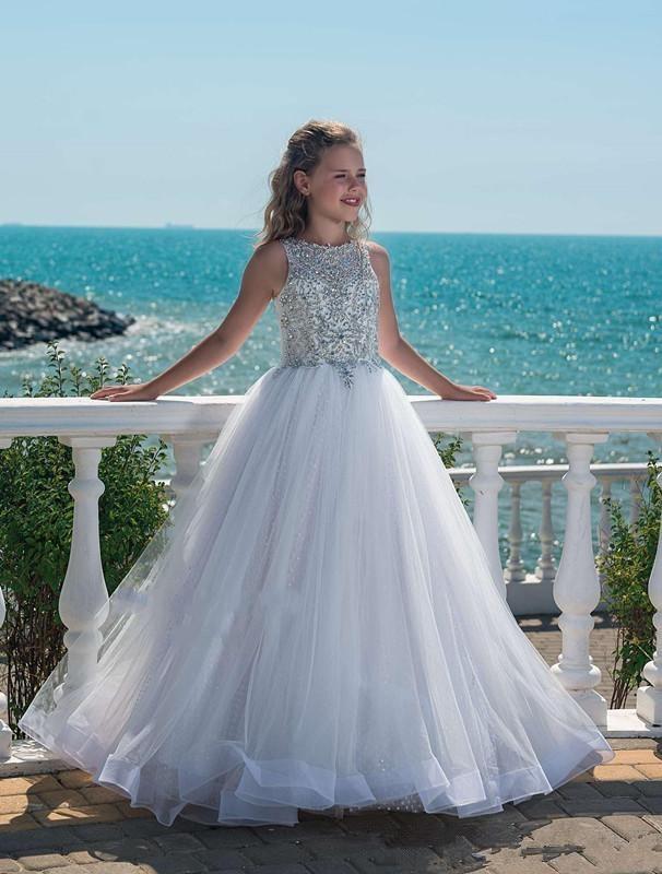 Beach Girls Pageant Dresses Ball Gown Scoop Tulle Beaded Crystals Long Flower Girl Dresses For Weddings Little Girls
