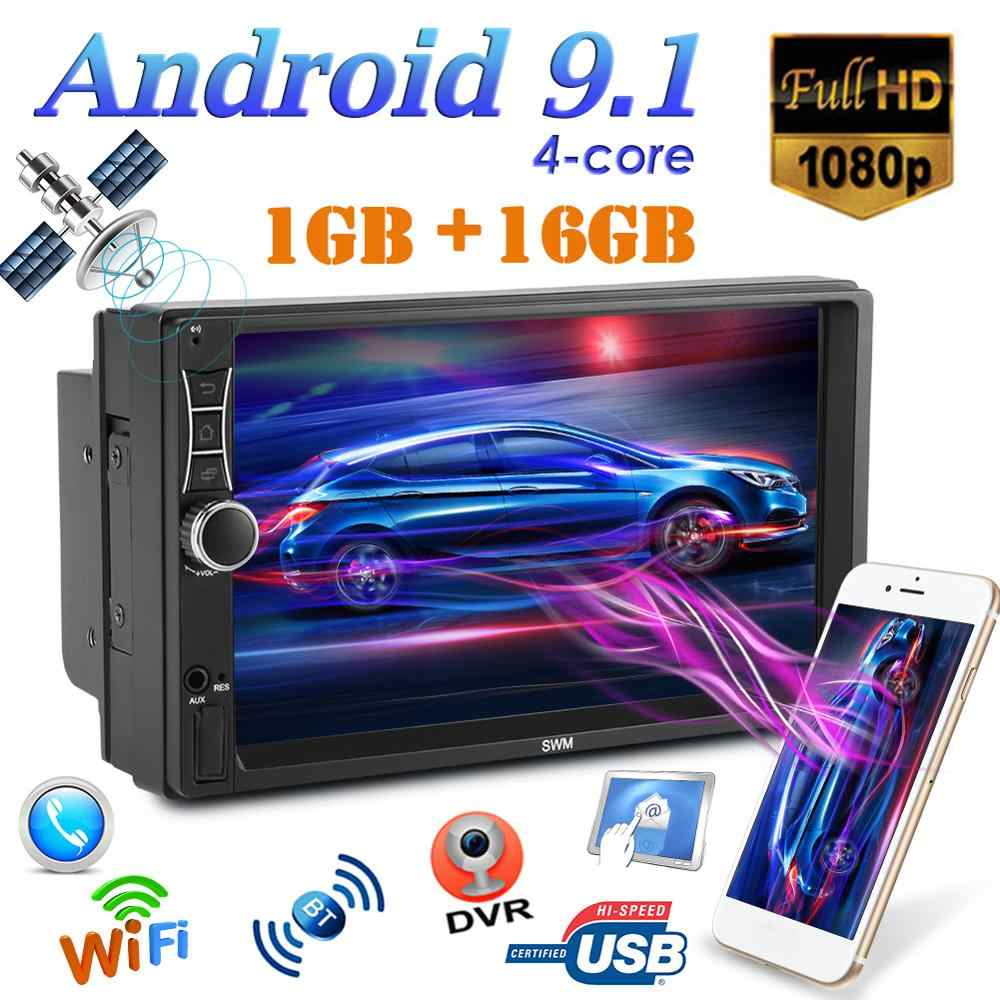 A2 Upgrade Double 2 DIN Android 9.1 Car Stereo 7 Inch Quad Core GPS Navigasi Bluetooth WIFI USB Radio Receiver kepala Unit