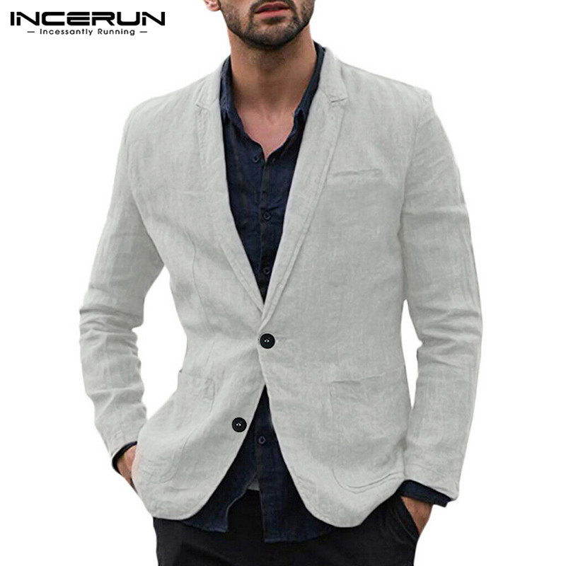 INCERUN Fashion Men Blazers Long Sleeve Lapel Cotton Plain Outerwear Business Casual Blazer Suits Jackets Men Streetwear  2020
