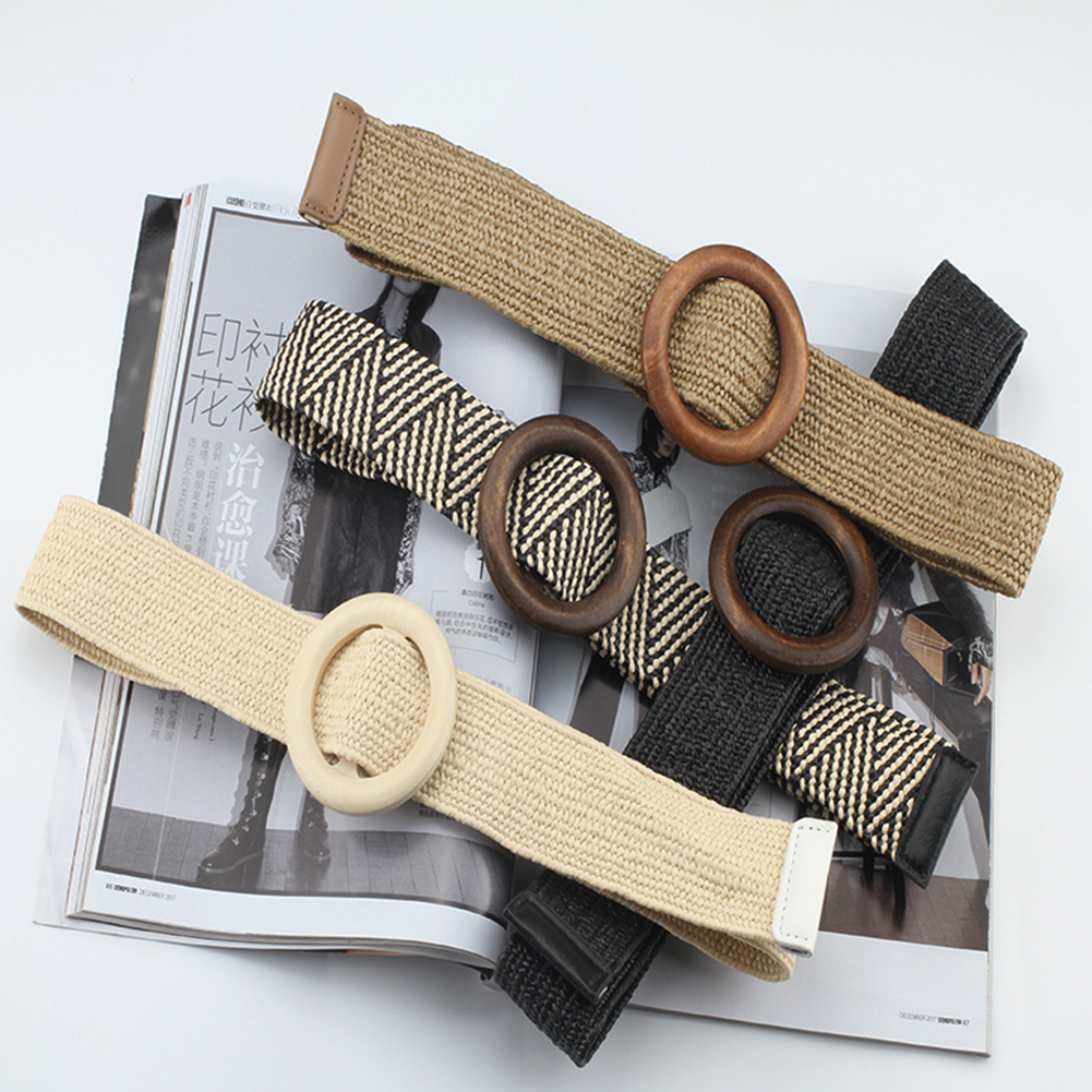 New Style Vintage Boho Braided Waist Belt Solid Female Belt Round Wooden Smooth Buckle Fake Straw Wide Belts For Women 12