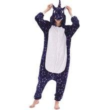 Unicorn Women Pajama Onesie kigurumis Galaxy Pegasus Unisex Adult Sleepwear Flannel Homewear Onepiece Suit Party Costume