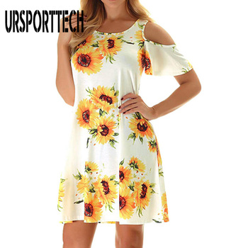 URSPORTTECH Women Dresses Summer 2020 Sexy O Neck Floral Print Boho Beach Dress Short Sleeve A Line Elegant Mini Dress Sundress 2020 new summer dresses women casual short sleeve o neck print a line dress large size streetwear sundress loose dress vestidos