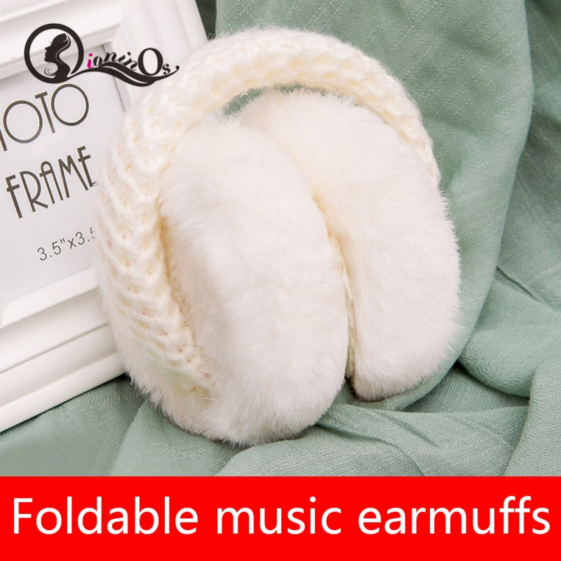 Autumn Winter New Fur Solid Kids Earmuffs Warm Music Earphone Unisex Skiing Fur Headphones Casque Foldable Cute Headphones