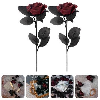 2 sztuk ciemny symulacji róże ciemny Faux Rose kwiaty ciemny Faux Rose rekwizyty tanie i dobre opinie CN (pochodzenie) Retro Simulation Rose Dark Faux Rose Flower Dark Faux Rose Prop Photo Prop Rose Fake Rose Flower