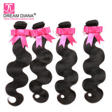 DreamDiana Brazilian BodyWave Hair 1/2/3/4 Bundles Natural Color 100% Remy Human Hair Vendors Wholesale Wave Hair Extensions(China)