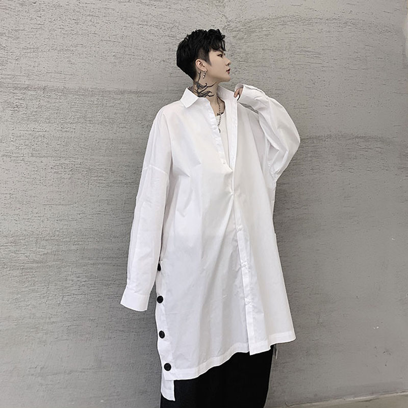 Men Oversize Long Sleeve Loose Casual Button Shirt Male Japan Streetwear Hip Hop Splice Long Dress Shirt Stage Clothes