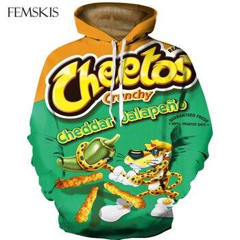 FEMSKIS New Streetwear 3D Print Cheetos Funny Hoodie Hoodies Men Women Long Sleeve Hooded Sweatshirt Casual Hoodies Sweatshirts funny 3d bitcoin print hoodies sweatshirt unisex hooded pullover novelty print autumn tracksuits men casual long sleeve top