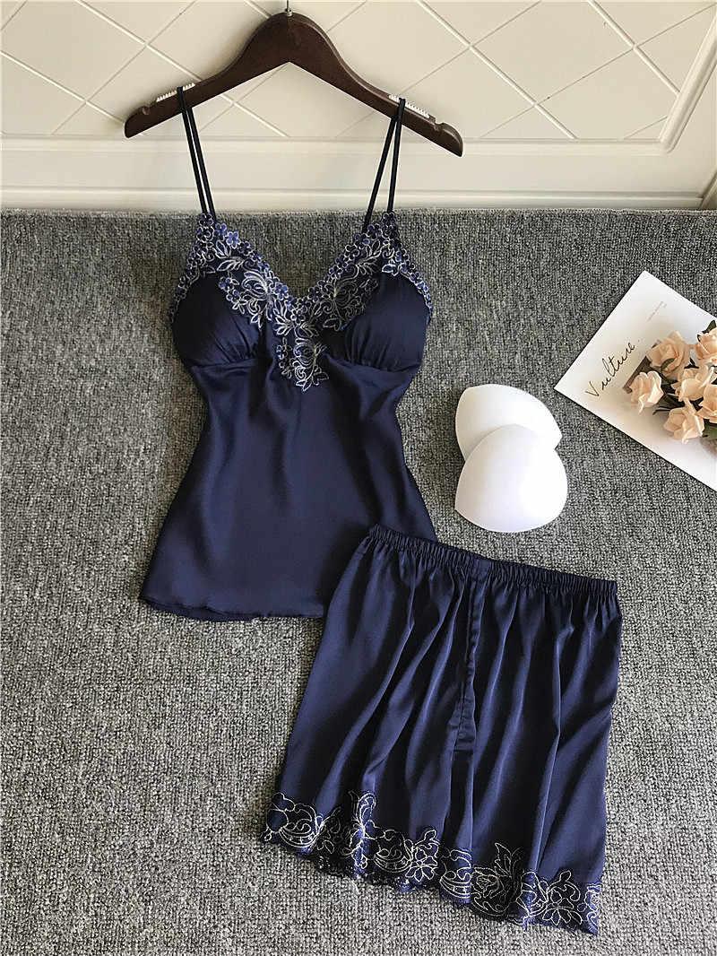 2 개/대 섹시 잠옷 여성 잠옷에 대 한 설정 귀여운 소프트 nightwear 란제리 잠 옷 민소매 슬링 + 반바지 숙 녀 homewear