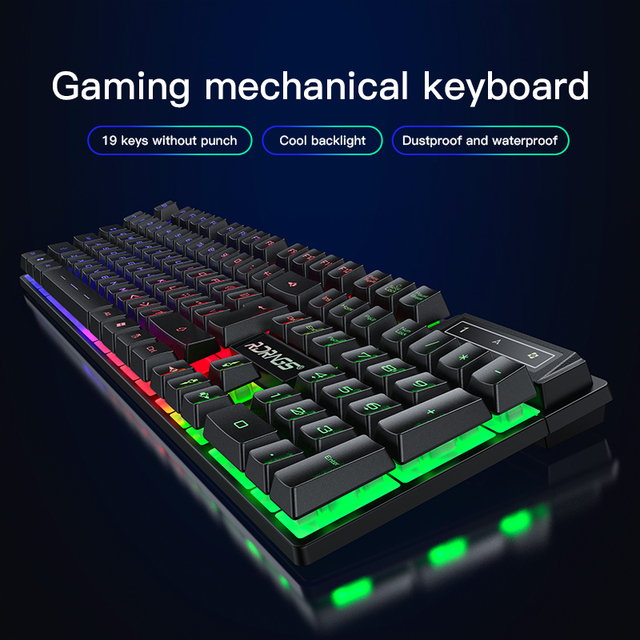 Gaming keyboard and Mouse Wired backlight mechanical felling keyboard Gamer kit Silent 3200DPI Gaming Mouse Set for PC Laptop 2