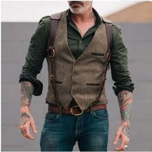 Chaleco de traje de hombre para fiesta de boda Vintage ajustado para caballero de negocios Chaleco de novio Casual Chaleco de traje de una sola botonadura