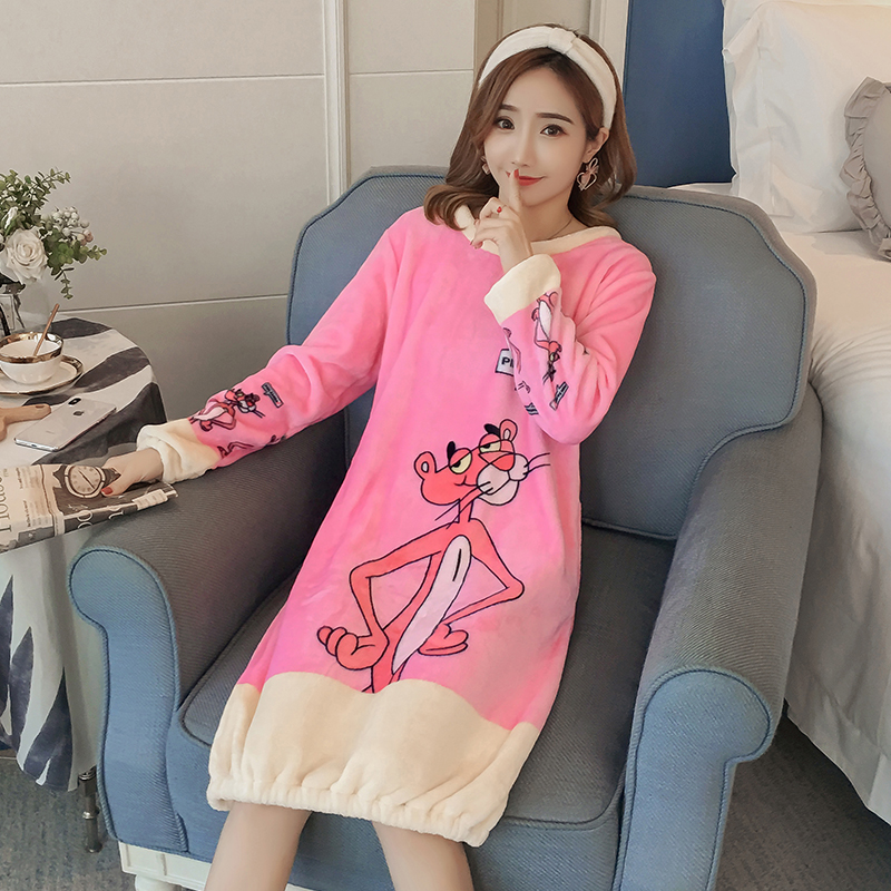Long Flannel Nightgown Womens Winter Fashion Night Skirt Leisure Long Sleeve Thicken Warm Sleepshirts For Woman Nightdress Girl