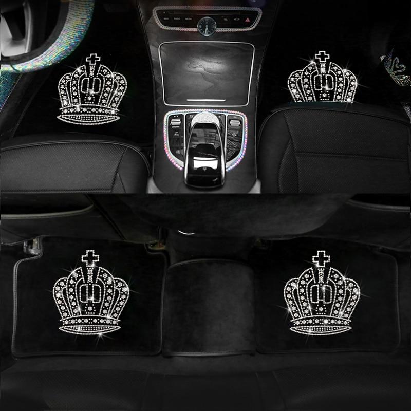 Car Velvet Floor Mats Carpet Cover General Diamond Inlaid Women's Automobile Bling Drill Interior Accessories Universal Size