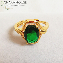 Charmhouse Wedding Rings For Women Pure Yellow Gold Color GP Zirconia Finger Ring With Green Crystal Rhinestone Engagement Anel