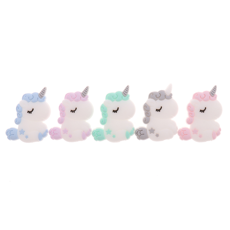 Fkisbox 5pcs Silicone Unicorn Teether Beads Cute Cartoon Rodent BPA Free Baby Teething Necklace Mordedor Nursing DIY Jewelry Toy